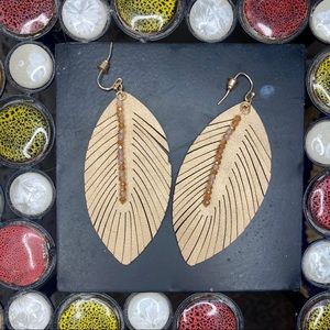 fabric feather earrings